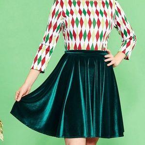 NWOT Green Velvet Skater Skirt